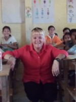Me with the children in the classroom