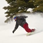 Snowboarder makes a splash