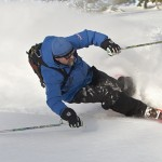 Our cat skiing guide, Greg, makes a perfect turn